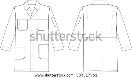 Medical doctor working cooking coat. Fashion sketch illustration - stock vector