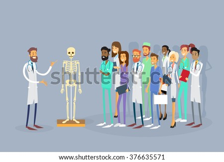 Medical Doctors Group People Intern Lecture Human Body Skeleton Study Vector Illustration - stock vector
