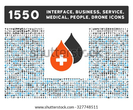 Medical Drops and other web interface, business tools, people poses, medical service vector icons. Style is flat symbols, bicolored, rounded angles, white background. - stock vector