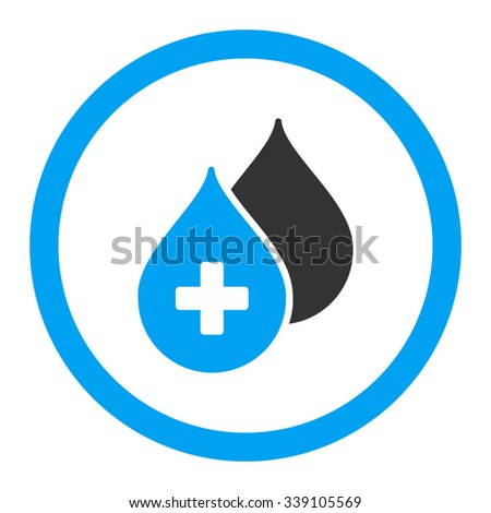 Medical Drops vector icon. Style is bicolor flat rounded symbol, blue and gray colors, rounded angles, white background. - stock vector