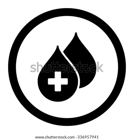 Medical Drops vector icon. Style is flat rounded symbol, black color, rounded angles, white background. - stock vector
