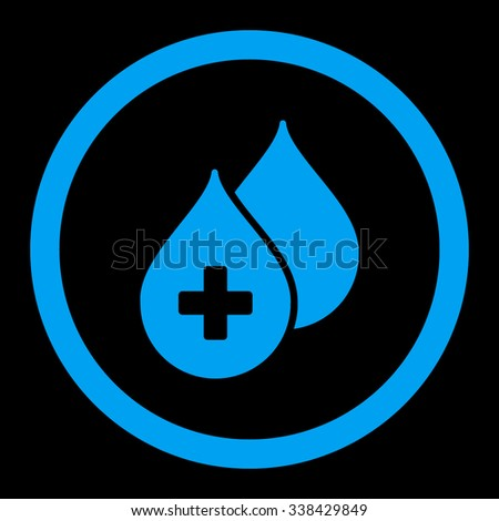 Medical Drops vector icon. Style is flat rounded symbol, blue color, rounded angles, black background. - stock vector