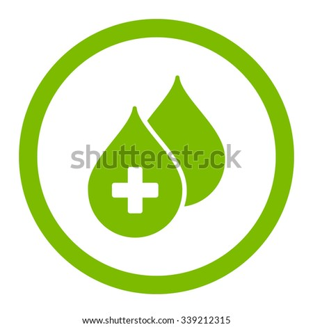 Medical Drops vector icon. Style is flat rounded symbol, eco green color, rounded angles, white background. - stock vector