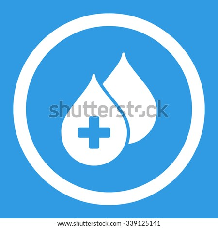 Medical Drops vector icon. Style is flat rounded symbol, white color, rounded angles, blue background. - stock vector
