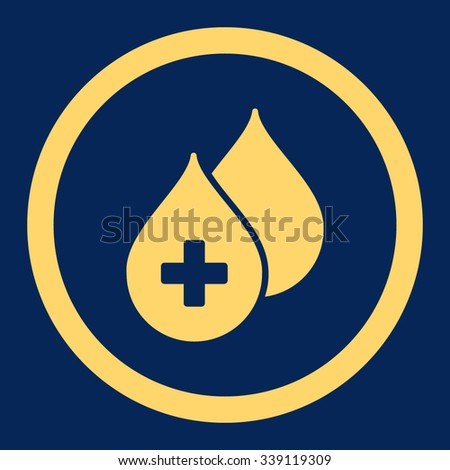 Medical Drops vector icon. Style is flat rounded symbol, yellow color, rounded angles, blue background. - stock vector