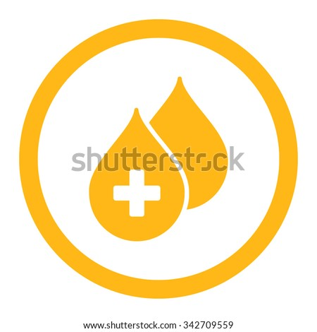 Medical Drops vector icon. Style is flat rounded symbol, yellow color, rounded angles, white background. - stock vector