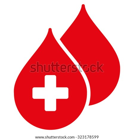 Medical Drops vector icon. Style is flat symbol, red color, rounded angles, white background. - stock vector