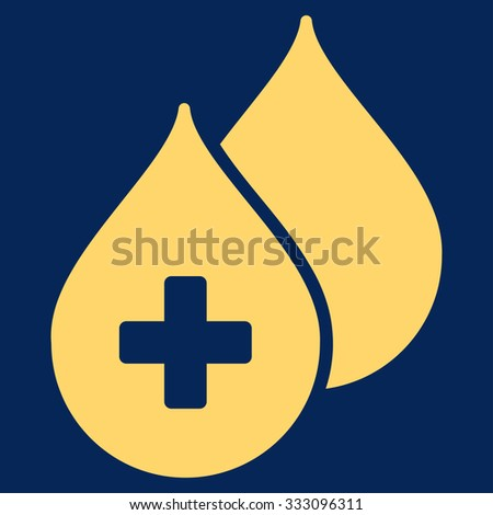 Medical Drops vector icon. Style is flat symbol, yellow color, rounded angles, blue background. - stock vector