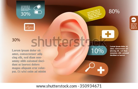 Medical ear infographic, hearing health concept - stock vector