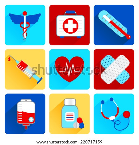 Medical emergency health care flat icons set with first aid kit pill thermometer isolated vector illustration