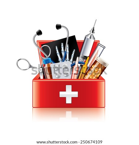 Medical equipment box isolated on white photo-realistic vector illustration - stock vector