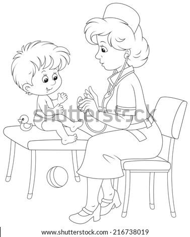 Medical examination in a pediatric polyclinic - stock vector