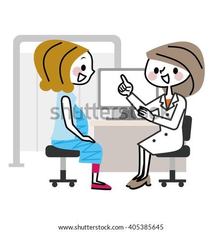 Medical examination to pregnant women. - stock vector