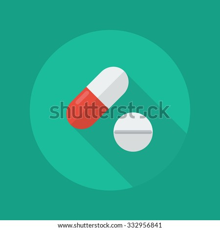 Medical Flat Icon With Long Shadow. Medical pills - stock vector