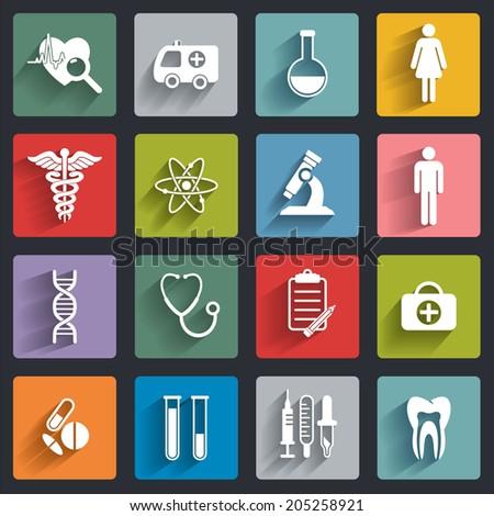 Medical flat icons set  - stock vector