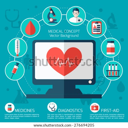 Medical flat vector concept. Health and medical care illustration. - stock vector