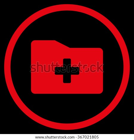Medical Folder vector icon. Style is flat circled symbol, red color, rounded angles, black background.