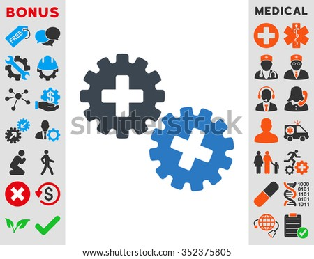 Medical Gears vector icon. Style is bicolor flat symbol, smooth blue colors, rounded angles, white background.