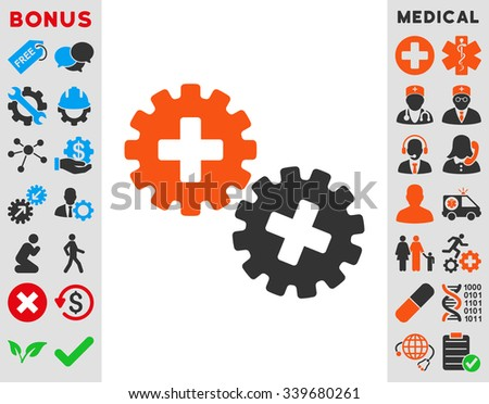 Medical Gears vector icon with bonus. Style is bicolor flat symbol, orange and gray colors, rounded angles, white background.