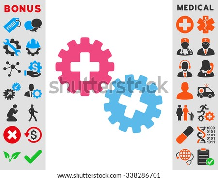 Medical Gears vector icon with bonus. Style is bicolor flat symbol, pink and blue colors, rounded angles, white background.