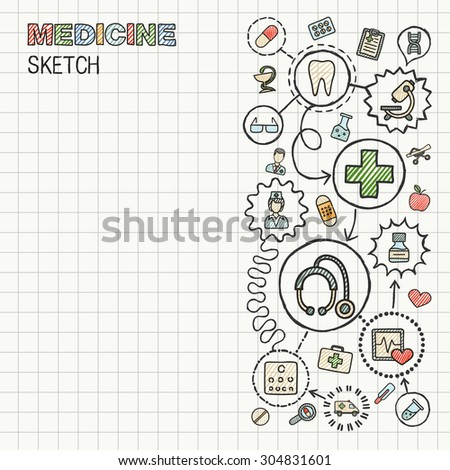 Medical hand draw integrated icon set on paper. Colorful vector sketch infographic illustration. Connected doodle color pictograms: healthcare, doctor, medicine, science, pharmacy interactive concept - stock vector