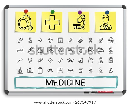 Medical hand drawing line icons. Vector doodle pictogram set: sketch sign illustration on white marker board with paper stickers: hospital, emergency, doctor, nurse, pharmacy, medicine, health care. - stock vector