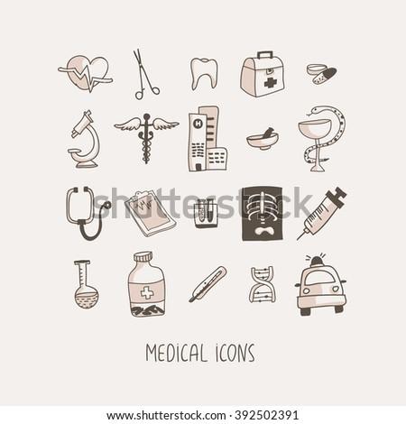 Medical hand drawn vector icons set - stock vector