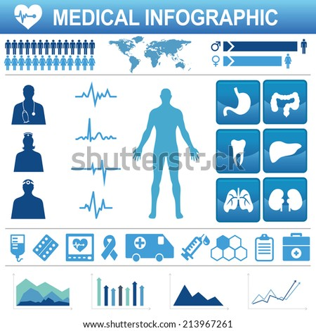 Medical, health and healthcare icons and data elements, infographic - stock vector