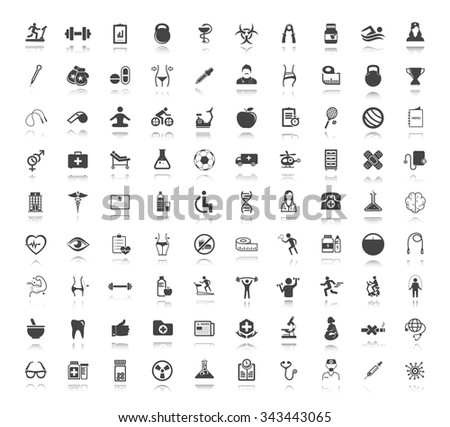 Medical, Health care and fitness Icons Set For Mobile, Web And Applications. - stock vector