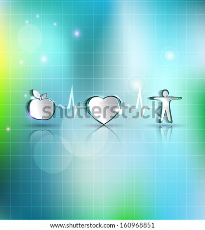 Medical health care concept illustration. Healthy food and fitness leads to healthy heart and life. Symbols connected with heart rate monitoring line. Beautiful bright design. - stock vector