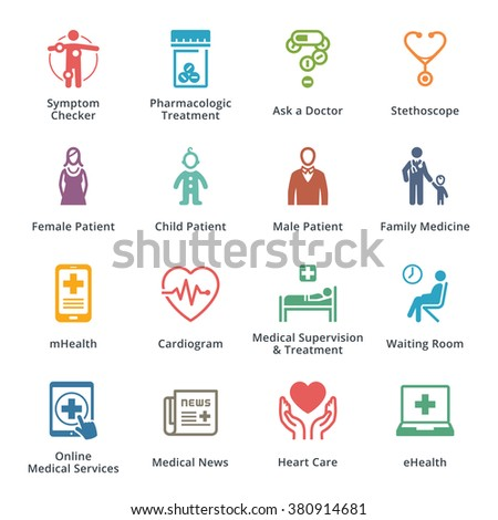 Medical & Health Care Icons Set 2 - Colored Series  - stock vector