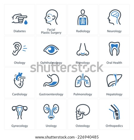 Medical & Health Care Icons Set 1 - Specialties - stock vector