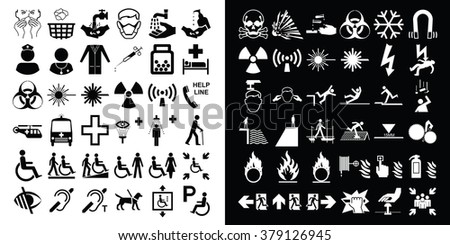 Medical healthcare and hazard warning related icon collection - stock vector
