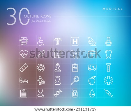 Medical healthcare outline icons set for web and mobile app. EPS10 vector file organized in layers for easy editing. - stock vector