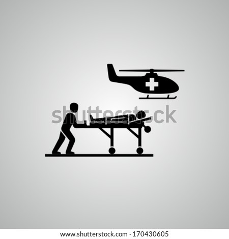 Medical helicopter - stock vector