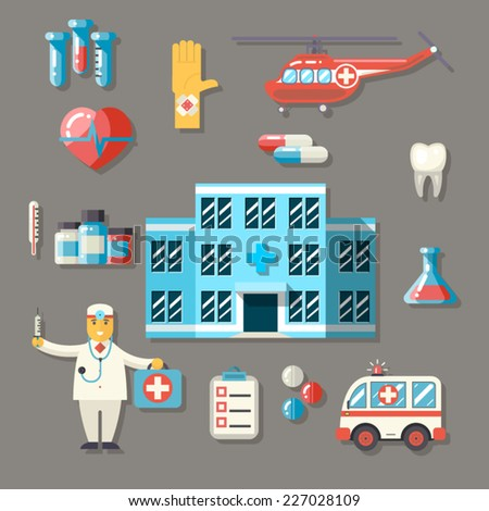 Medical Hospital Ambulance Healthcare Doctor Flat icons Set Vector Illustration - stock vector