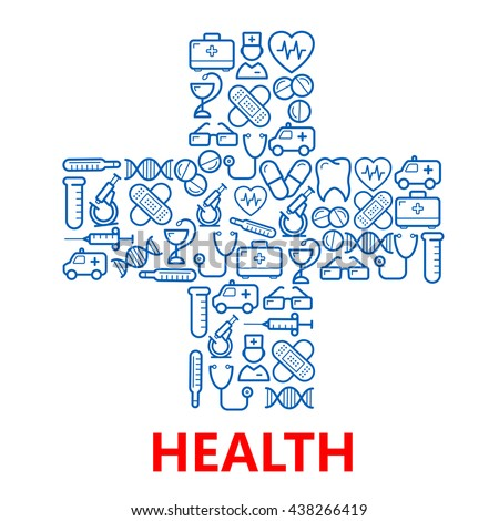 Medical hospital cross symbol with icons of doctors and ambulances, pills and stethoscopes, microscopes, test tubes, hearts, tooth and DNA, aid kits and syringe, glasses, plasters and thermometers
