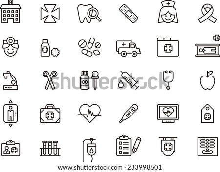 Medical & Hospital icon set - stock vector