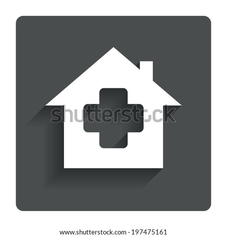 Medical hospital sign icon. Home medicine symbol. Gray flat button with shadow. Modern UI website navigation. Vector - stock vector