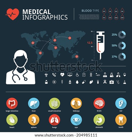 Medical human organs icon set with human body and world map info graphic - stock vector