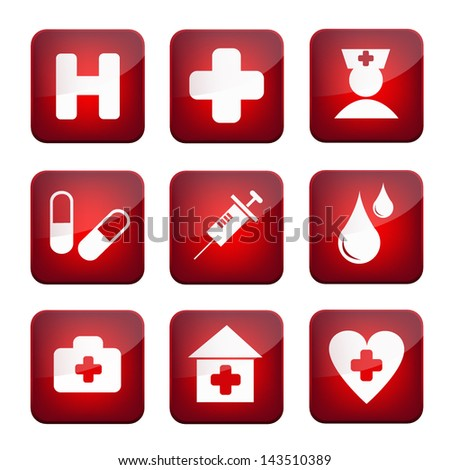 medical icon application information system symbol for web application graphic design - stock vector