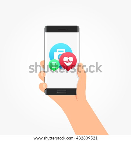 Medical Icon Bubbles Phone Vector Illustration