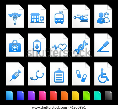 Medical Icon on Document Icon Collection Original Illustration - stock vector