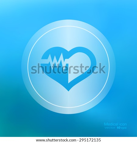 Medical icon on the blurred background. Cardiogram  symbol. Vector illustration - stock vector