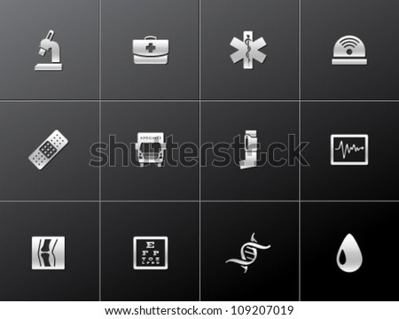 Medical icon series in metallic style - stock vector