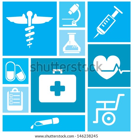 medical icon set, background - stock vector
