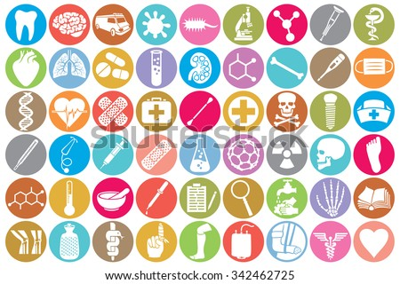 medical icon set (kidney, human lungs, pharmacy snake symbol, first aid sign, skull, tooth, stethoscope, brain, microscope, syringe, DNA strand, heart, first aid, ambulance van) - stock vector