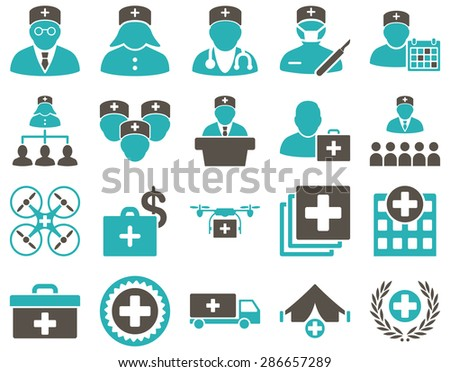 Medical icon set. Style: bicolor icons drawn with grey and cyan colors on a white background. - stock vector