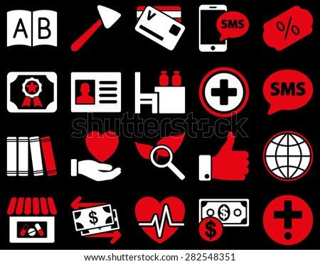 Medical icon set. Style: bicolor icons drawn with red and white colors on a black background. - stock vector