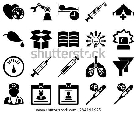 Medical icon set. Style: icons drawn with black color on a white background. - stock vector